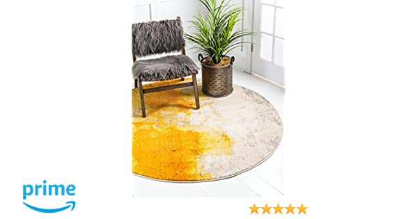 Unique Loom Estrella Collection Vibrant Abstract Yellow Round Rug (8 x 8)