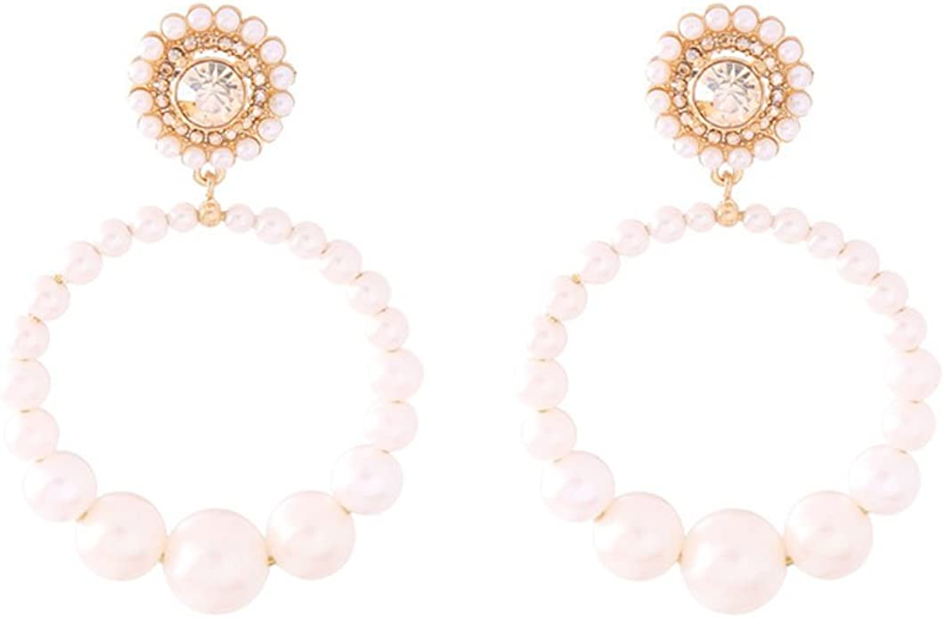 Fashion Women/'s Elegant 1Pair Pearl Rhinestone Stud Drop Dangle Earrings Jewelry