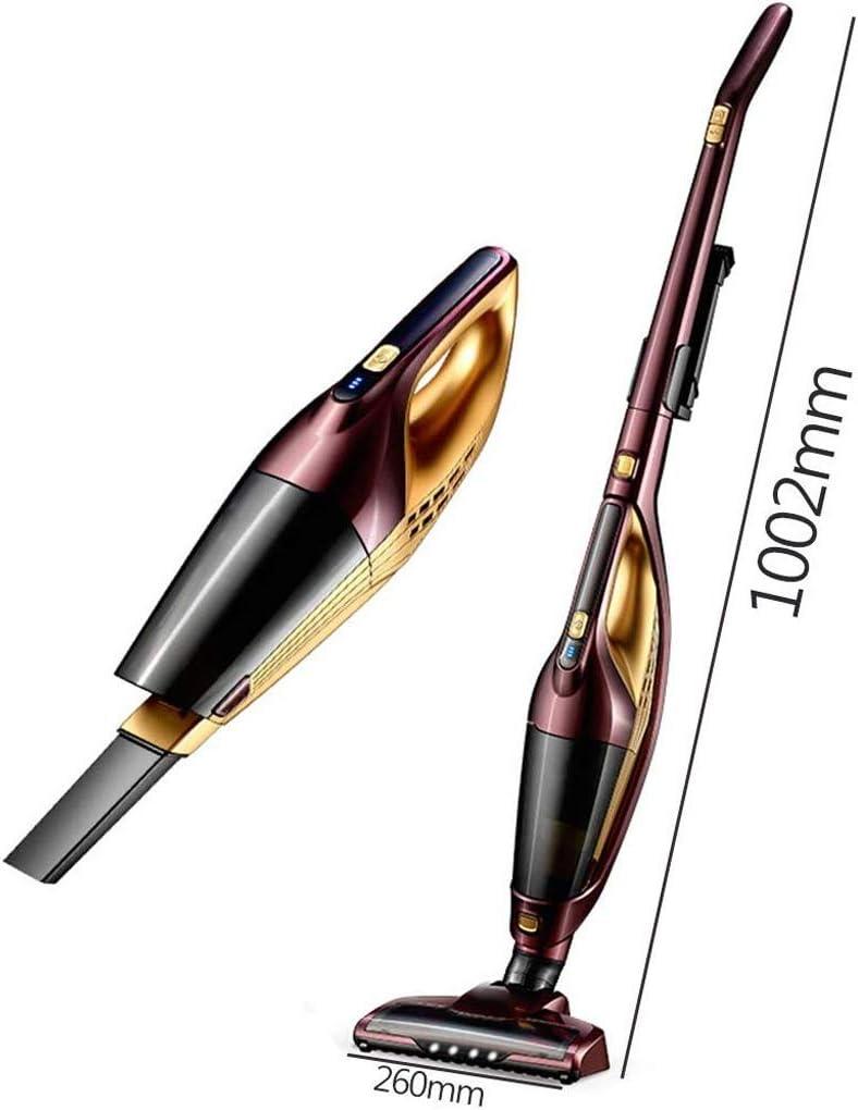 YHLZ Aspirateur, Aspirateur sans fil 2 en 1 Aspirateur main/Putter éclairage LED Mute 130W haute puissance à vitesse variable lithium-ion rechargeable (Color : Rose Gold) Gold