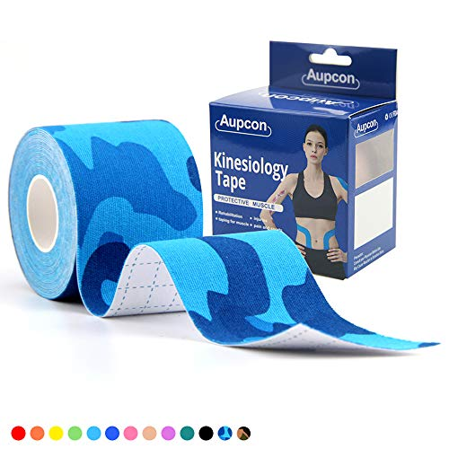 (AUPCON Sports Kinesiology Tape Hypoallergenic Breathable Waterproof - Uncut Muscle Tape Therapy Recovery Support for Knee Shoulder Ankle Elbow Shin Neck Splints FDA Approved Latex Free (Blue CAMO))