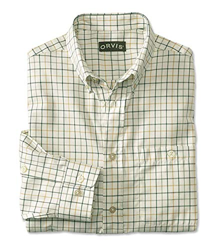 Orvis Men's Country Twill Long-Sleeved Shirt/Tall, Cream/Pine, Large