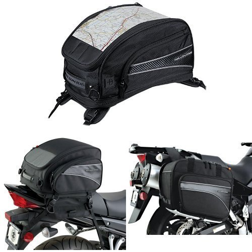 Nelson-Rigg CL-2015-ST Black Strap Mount Journey Sport Tank Bag,  (CL-1040-TP) Black Jumbo Expandable Tail Bag,  and  (CL-855) Black Touring Adventure Saddlebag Bundle by Nelson-Rigg (Image #1)
