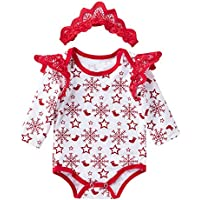 AMSKY❤ Baby Outfit Hangers,Newborn Infant Baby Boy Girls Long Sleeve Christmas Rompers Outfits Clothes
