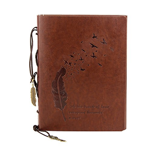 B6 Leather Journal Notebook, XIUJUAN Refillable Blank Paper Writing Journal Spiral Bound Notebook Diary Sketchbook Gifts with Unlined Vintage Journal for Women Girls Kids Men Boys, Feather -