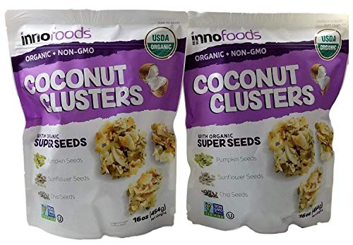- InnoFoods Coconut Clusters with Organic Super Seeds (Pumpkin; Sunflower & Chia Seeds) (Pack of 2 - 16 oz.)