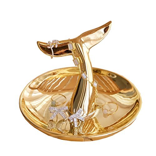 (PUDDING CABIN Mermaid Ring Holder Trinket Dish Earrings Necklace Bracelet Organizer Jewelry)