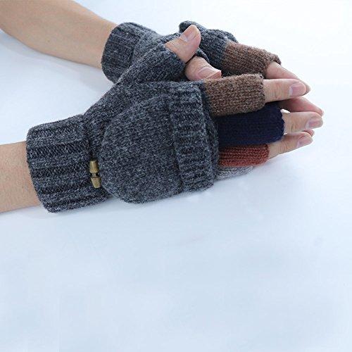 Kay Boya Winter Knit Wool Gloves Thicken Warm Gloves Fold Back Gloves for Men & Women (Grey) by Kay Boya (Image #5)