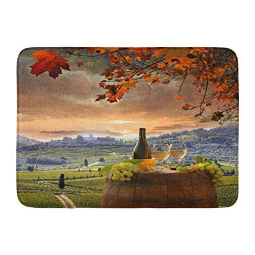 (Kuytresdf Doormats Bath Rugs Outdoor/Indoor Door Mat Red Food White Wine Barrel on Vineyard in Chianti Tuscany Italy Drink Wood Bathroom Decor Rug 16