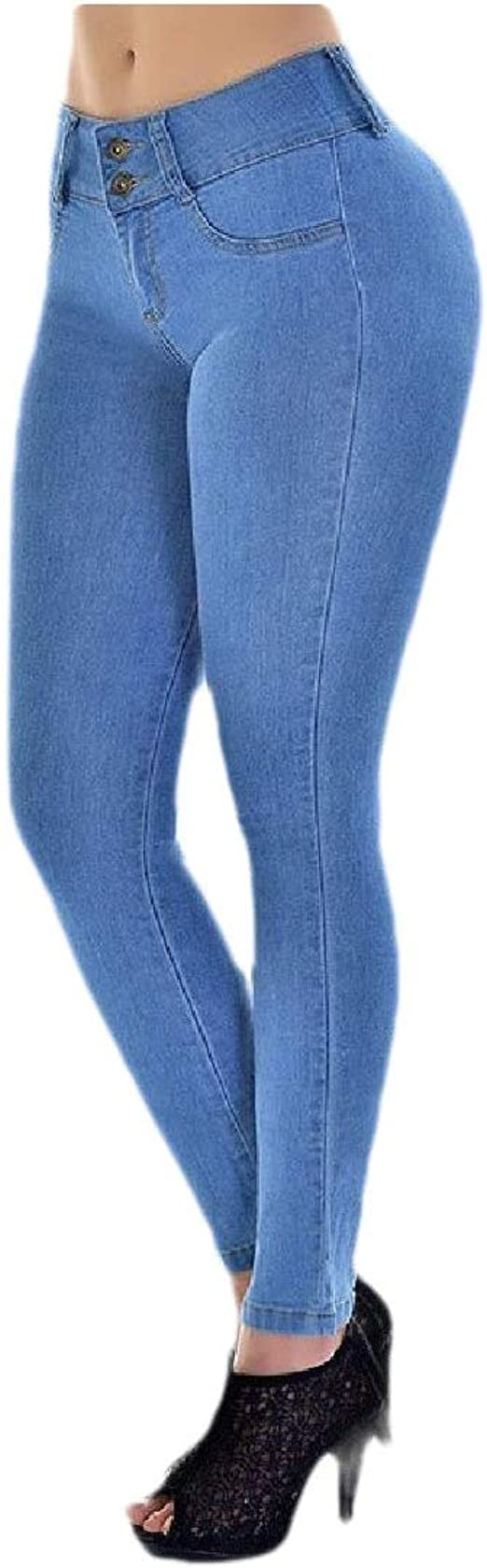 Romancly Womens Pocket Butt Lift Trim-Fit Stretch Sexy Washed Denim Pants