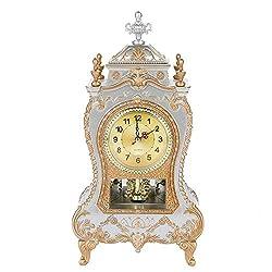 Vintage Style Plastic Table Clock Antique Home Hotel Decorative Desk Alarm Clocks(White)