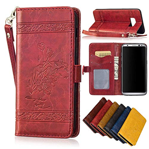 Cyber Deals Monday Deals Sales 2018-Samsung Galaxy S8 Wallet Case,Valentoria Pretty Flower Premium Vintage Emboss Leather Wallet Pouch Case with Wrist Strap (Wine Red)