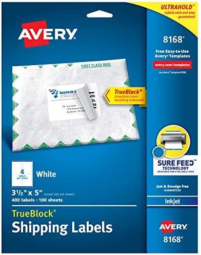 Pack of 2 3-1//2 x 5 White 8168 TrueBlock Permanent Adhesive Avery Shipping Address Labels 100 Labels Inkjet Printers