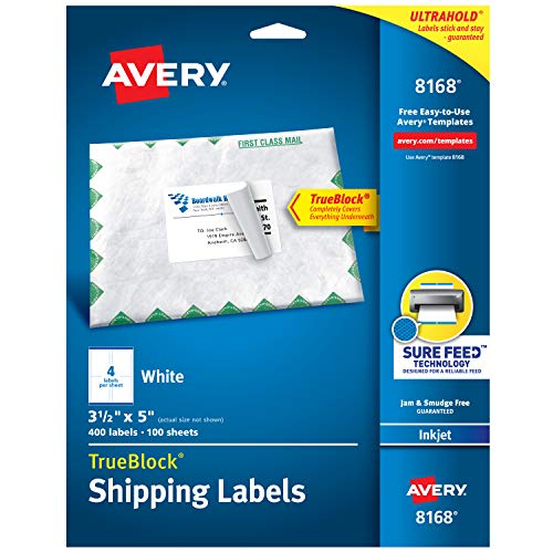 (Avery Shipping Address Labels, Inkjet Printers, 100 Labels, 3-1/2 x 5, Permanent Adhesive, TrueBlock (8168), White)