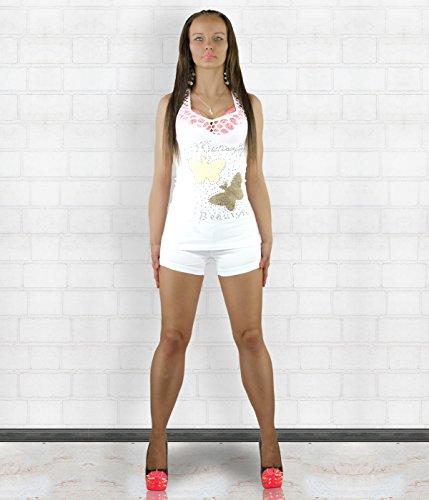 Yaxina - Camiseta sin mangas - Chaleco Top - Básico - para mujer blanco