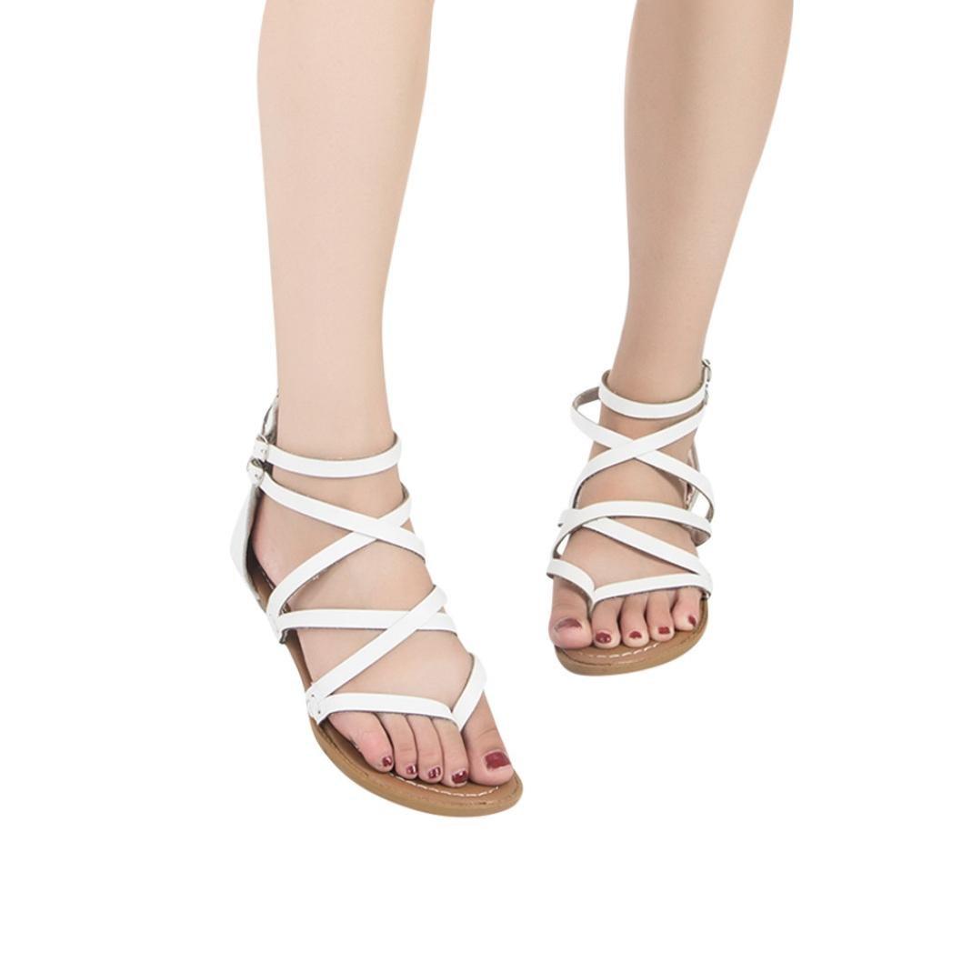 ❤ Femme Sandales Plat Été Chaussures Mode Bohème Jiangfu Pvp4Rq