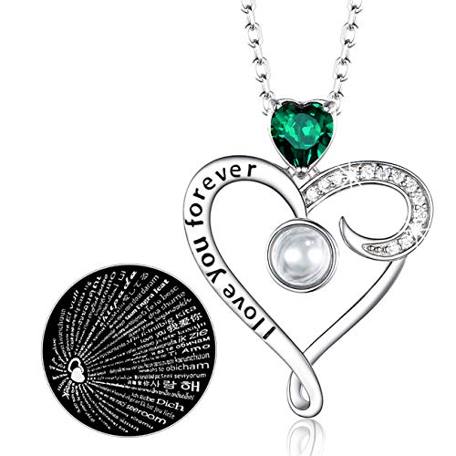 - 100 Languages I Love You Necklace Jewelry Birthday Gifts for Women LC Green Emerald Sterling Silver Love Heart Pendant Anniversary Necklace Gifts for Her Wife Girlfriend Daughter Lady 20