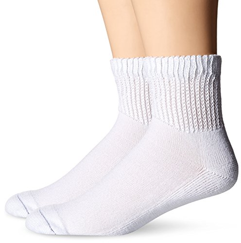 Dr. Scholl's Men's 2 Pack Diabetes and Circulatory Ankle Socks,  White, Shoe: 7-12