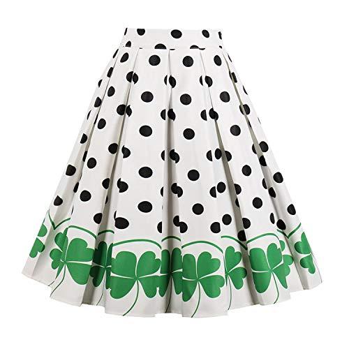 Skirts Women High Waist Summer Skirts Vintage Polka Dot Skirt Cotton A-Line Skirts,Green,XL
