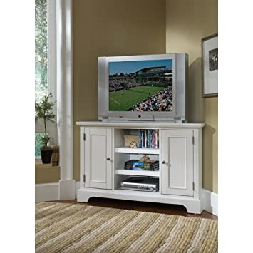 Home Styles 5530-07 Naples Corner Entertainment Credenza - White Finish