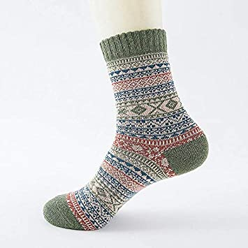 Treading - Winter Thick Warm Stripe Wool Socks Casual Calcetines Hombre Sock Business Male Socks [