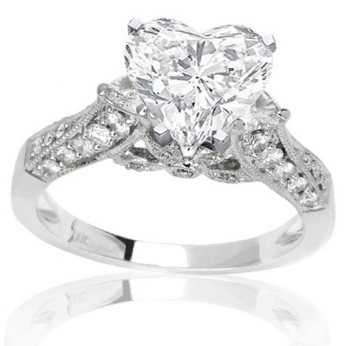 1.59 Carat Heart Cut / Shape 14K White Gold Trillion And Round Designer Diamond Engagment Ring ( H-I Color , VS2 Clarity ) - Size 3.5