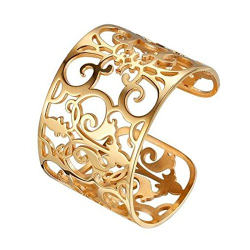 Polished Stainless Steel Fleur-de-Lis French Royalty Wide Filigree Cuff Bangle Bracelet 7.3