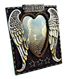 ''Angel Heart'' with ''God Bless'' and Rope-styled Border Picture Frame, 4x6'', Hand-crafted, Hand-painted Heirloom Quality.