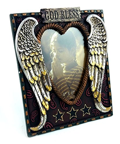 (Angel Heart with God Bless and Rope-Styled Border Picture Frame, 4x6, Hand-Crafted, Hand-Painted Heirloom Quality.)