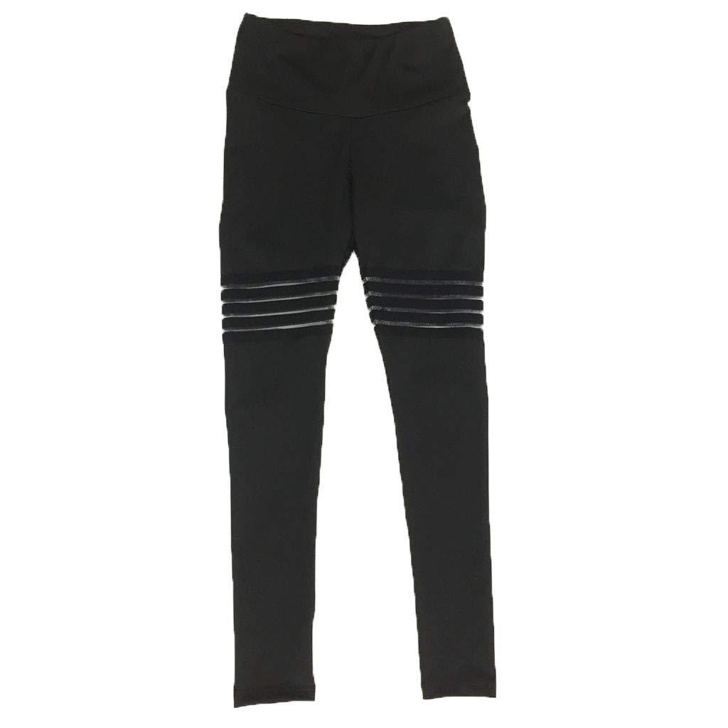 Women Yoga Leggings, High Waist Tummy Control Striped Printed Workout Running Power Flex Capri (XL, Black)