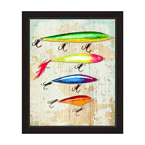Colorful Fishing Lures Distressed Wood-texture Framed Canvas Art Print Wall Décor 16x20