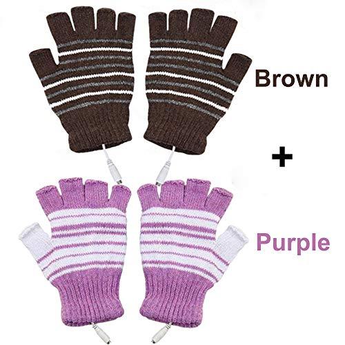 USB Heated Gloves for Men and Women Mitten, AIKIN USB 2.0 Powered Stripes Heating Pattern Knitting Wool Heated Gloves Hands Warmer Laptop/Computer Gloves Fingerless Washable Design (Brown + Purple)