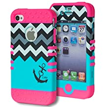 iPhone 4 Case, Bastex Heavy Duty Hybrid Soft Pink Silicone Cover Hard Grey/White Chevron Top Teal Love Anchor Bottom Design Case for Apple iPhone 4, 4g, 4s 4gs