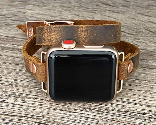 (Distressed Brown Leather Rose Gold Jewelry Bracelet for Apple Watch 38 40 42 44mm iWatch Band Artisan Double Tour Wrap Adjustable Size Strap Women Fashion Wristband )