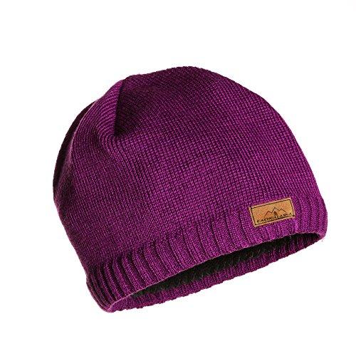 Beanie Purple Knit Women's Winter Hat - Premium Wool Blend - designed by CacheAlaska (Felt Sombrero)