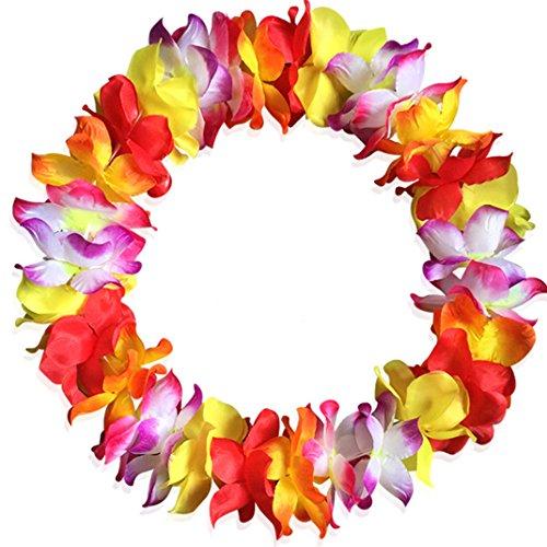 Hawaiian Hula Garland Leis Necklaces Bracelets Headband Flower Leis Necklaces for Tropical Island Beach Theme Party Even Birthday 9# ()
