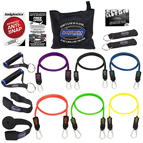 (Bodylastics Stackable (14 Pcs) MAX XT Resistance Bands Sets. This Leading Exercise Band System Includes 6 of Our Anti-Snap Exercise Tubes, Heavy Duty Components, and a Travel Bag)