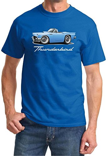 1955 1956 1957 Ford Thunderbird Convertible Full Color Design Tshirt Small Royal