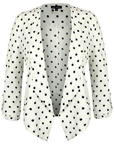 Michel Womens Casual Dot Print Blazer Work Office Lightweight Thin Stretchy Chiffon Open Front Jacket White Large