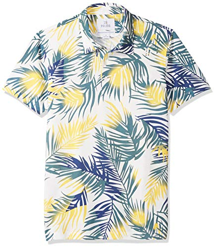 28 Palms Men's Standard-Fit Performance Cotton Tropical Print Pique Golf Polo Shirt, Blue/Yellow Palm Leaves, Large