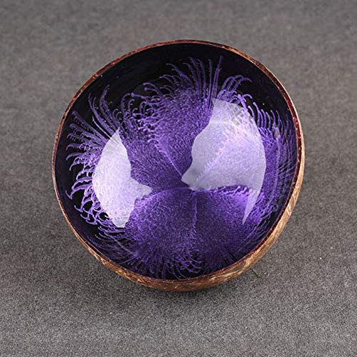 Coconut Bowls, Decorative Bowl, Natural Coconut Shell Bowl Dishes Mosaic Handmade Kitchen Paint Craft Home Decorate,Home Decorative Bowls(Purple) (Candy Dish Shell)