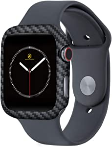 MONOCARBON Slim Genuine Carbon Fiber Case Compatible with Apple Watch 44mm Series 6/SE/5/4 Carbon Fibre Cover with Snug Fitment - Weight 0.7g - Thickness 0.6mm - Matte Finish