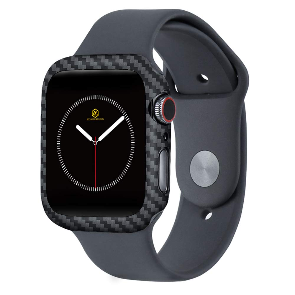 MONOCARBON Slim Genuine Carbon Fiber Case Compatible with Apple Watch Series 4 44mm Carbon Fibre Cover with Snug Fitment - Weight 0.7g - Thickness 0.6mm - Matte Finish by MONOCARBON