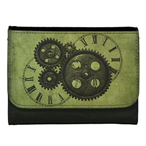 YEX Men's Steampunk Clocks and Gears Black Leather Wallet Fashion Size S (Steampunk Fashion Male)