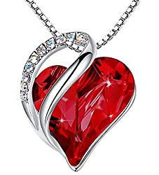 Heart Pendant with Swarovski Red Crystal Birthstone
