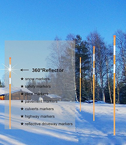 FiberMarker Snow Markers 48-Inch Reflective Snow Poles 5/16 Inch Diameter Orange, 20 Pack
