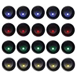 Carviya 20pcs 5Blue+5Red+5Green+5Orange Rocker Dot LED Light Round Toggle Switch Spst On-Off Control for Car,Truck, Race Cars, RV's, Marine, Heavy Duty Trucks, Off Road Vehicles, ATV's