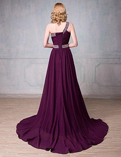 Shoulder Prom One Chiffon Grape DianSheng Party Dress CK88A Evening Beaded Gown Bridesmaid Long wqt57dE