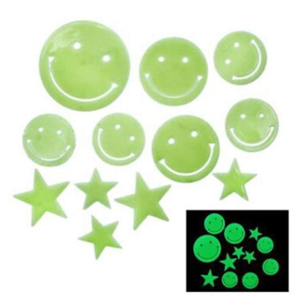 EJY Smiley Face et Les étoiles Autocollants de Plafond Lumineux Fluorescents Stickers Muraux Décoration Murale Chambre de Bébé Enfant 88_Store