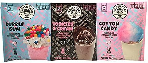 Frozen Bean Cotton Candy, Bubble Gum, and Cookies & Cream Flavored Frappe Mix Bundle, 2.8 Oz Per (Frozen Theme Food)