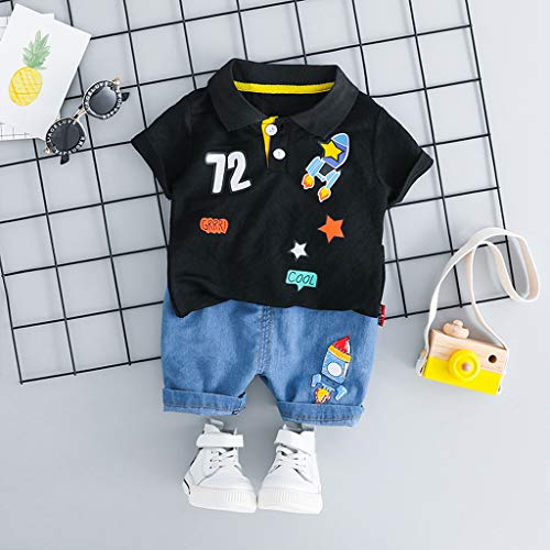 Tronet Summer Outfits Set Kids Baby Girl Boy Cartton Spot Print Tops T Shirt Striped Shorts Outfits Set